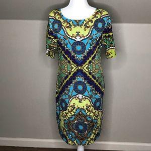 Ronni Nicole Printed Dress Blue Green